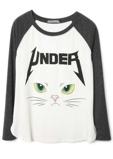 Grey White Long Sleeve Cat Face Print T-Shirt
