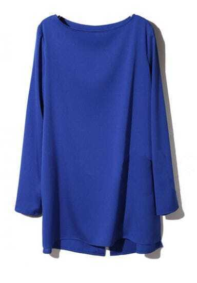 Blue Boat Neck Long Sleeve Split Chiffon T-Shirt