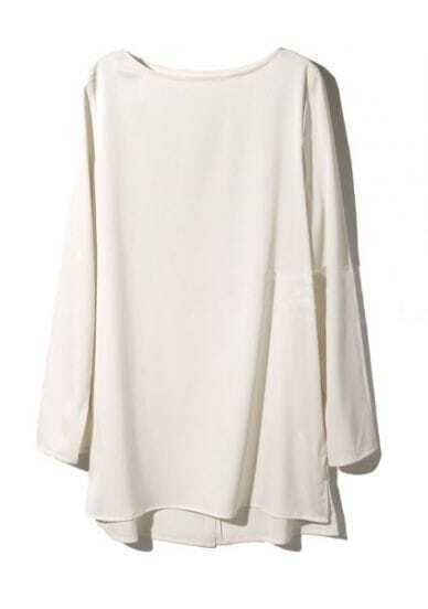 Apricot Boat Neck Long Sleeve Split Chiffon T-Shirt