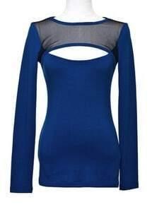 Blue Long Sleeve Contrast Mesh Yoke T-Shirt