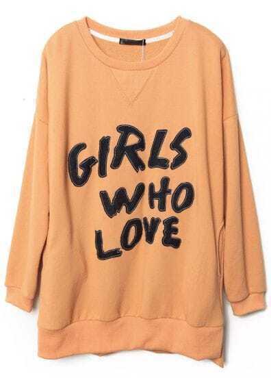 Orange Side Split Letters Appliques Sweatshirt