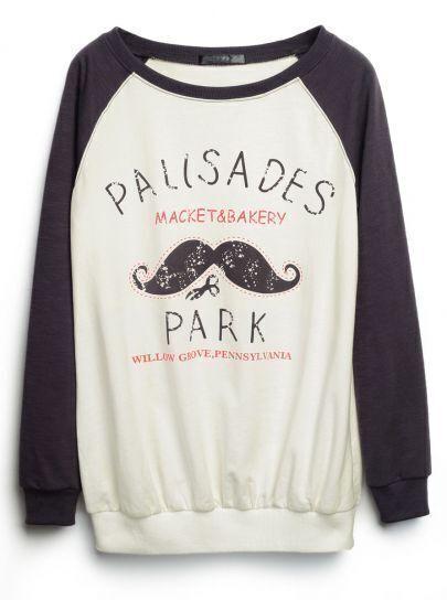 White Grey Raglan Sleeve Beard Print Sweatshirt