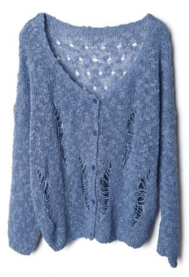Blue V Neck Ripped Hollow Cardigan Sweater