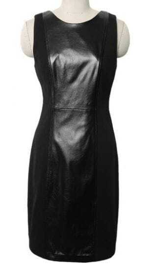 Black Sleeveless Contrast Leather Tank Dress
