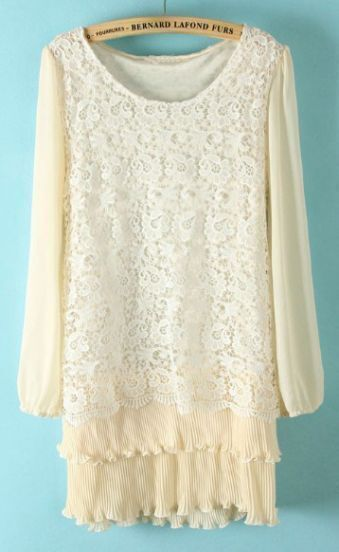 White Long Sleeve Lace Pleated Chiffon Dress