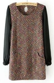 Coffee Contrast Chiffon Tweed Heart Pockets Dress