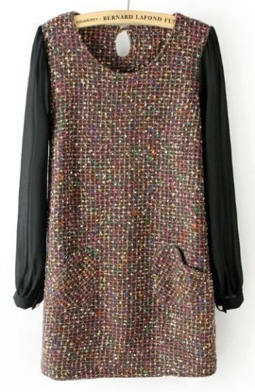 Coffee Contrast Chiffon Tweed Heart Pockets Dress