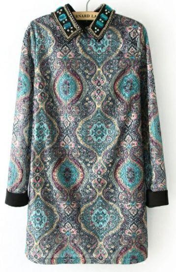 Blue Rhinestone Chain Embellished Tribal Embroidery Dress