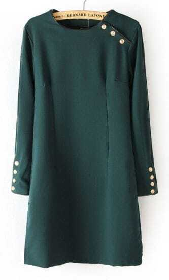 Dark Green Long Sleeve Buttons Embellished Dress