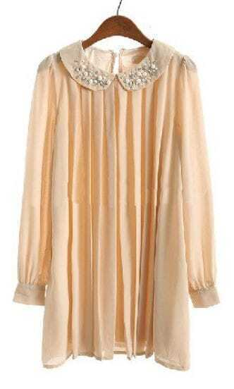 Nude Puff Sleeve Rhinestone Pleated Chiffon Dress
