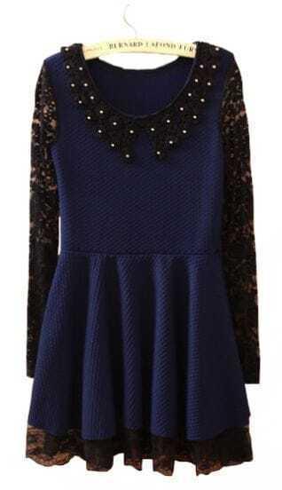 Navy Contrast Lace Long Sleeve Hollow Ruffles Dress