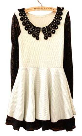 White Contrast Lace Long Sleeve Hollow Ruffles Dress