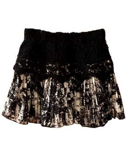 Black Elastic Waist Lace Embroidery Skirt