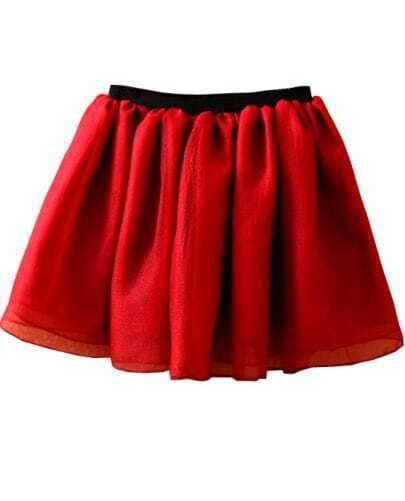 Red Elastic Waist Mesh Yoke Flare Skirt
