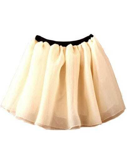 Beige Elastic Waist Mesh Yoke Flare Skirt