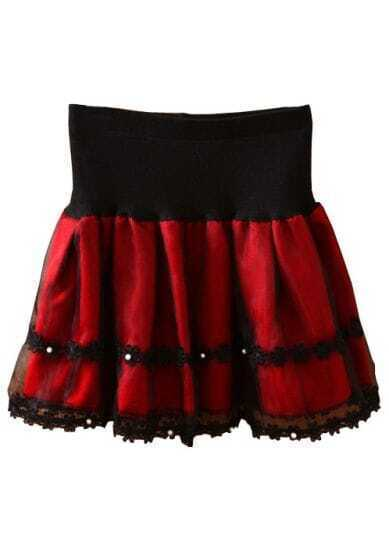 Wine Red Pearls Lace Flare Pleated Skirt