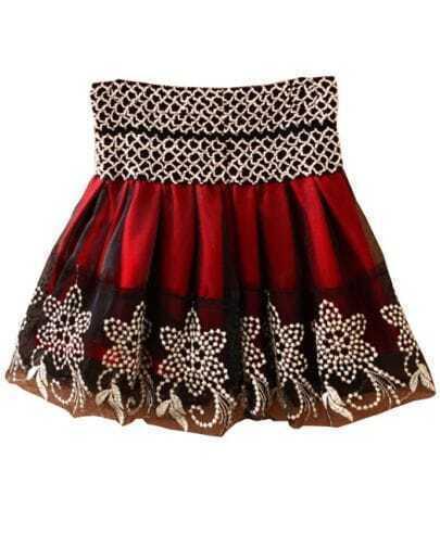 Wine Red Mesh Yoke Embroidery Flare Skirt