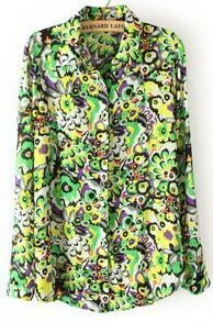 Green Long Sleeve Peacock Print Chiffon Blouse