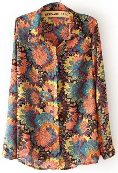 Yellow Long Sleeve Big Flowers Print Chiffon Blouse