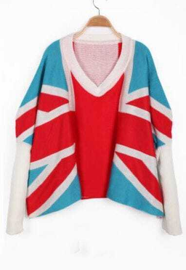 Blue Red Long Sleeve Union Jack Pattern Sweater