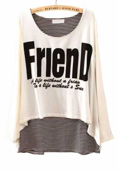 White Contrast Striped Friend Print Asymmetrical T-Shirt