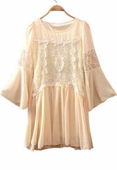 Beige Round Neck Lace Embroidery Chiffon Dress