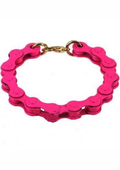 Pink Bicycle Chain Link Bracelet