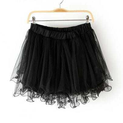 Black Elastic Waist Lace Flare Skirt