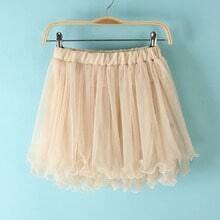 Pink Elastic Waist Lace Flare Skirt