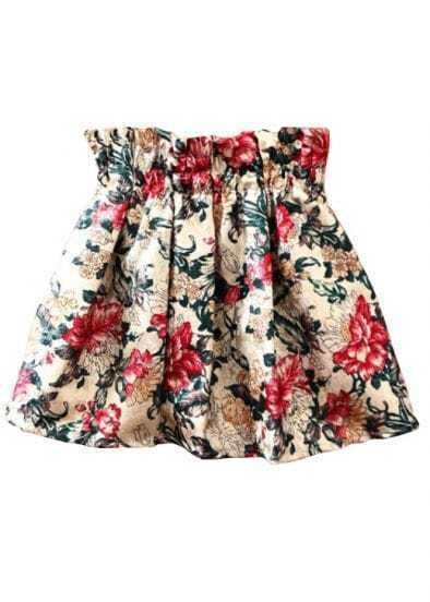 Beige Elastic Waist Floral Flare Skirt