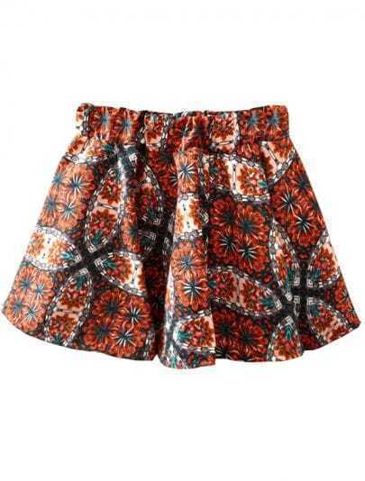 Orange Elastic Waist Floral Flare Skirt