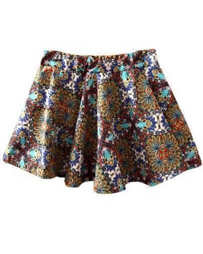 Blue Elastic Waist Floral Flare Skirt