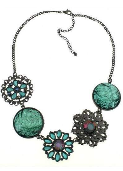 Green Gemstone Flowers Necklace