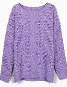 Purple Round Neck Cable Knitting Jumper Sweater