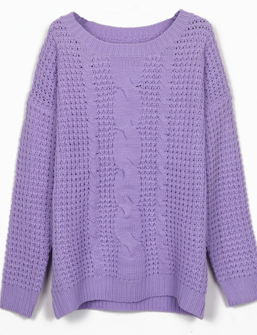 Purple Round Neck Cable Knitting Jumper Sweater -SheIn(Sheinside)