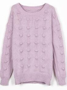 Purple Round Neck Three-dimensional Ball Pullover Sweater