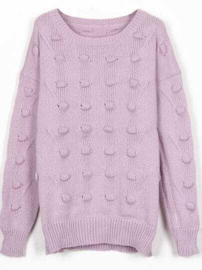 Purple Round Neck Three-dimensional Ball Pullover Sweater