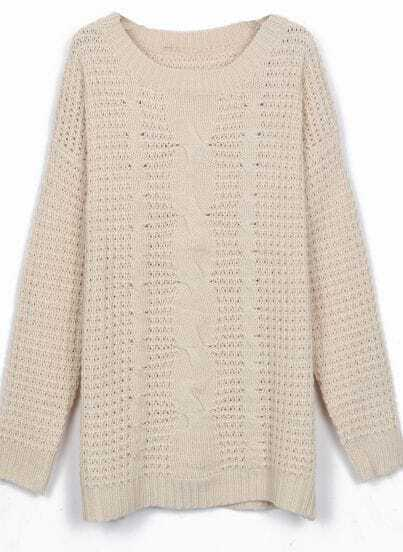 Apricot Round Neck Cable Knitting Jumper Sweater