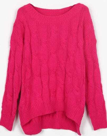 Rose Red Round Neck Cable Knitted Dip Hem Sweater
