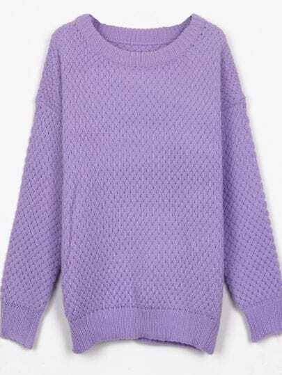 Purple Round Neck Simple Style Batwing Sleeve Jumper Sweater