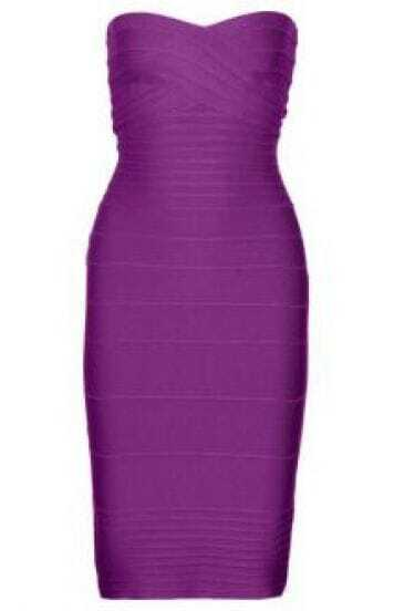 Strapless Bandage Dress Purple