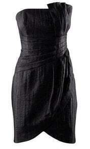 Asymmetric Folds Strapless Black Bud Dress