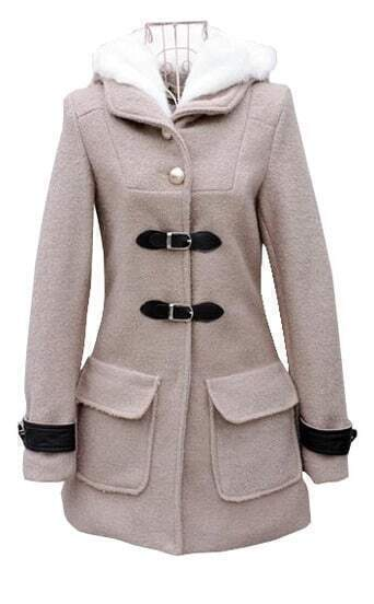 Grey Hooded Long Sleeve Buckle Strap Coat