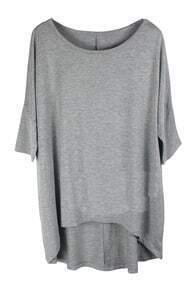 Plain Grey Round Neck Half Sleeve Dipped Hem T-shirt