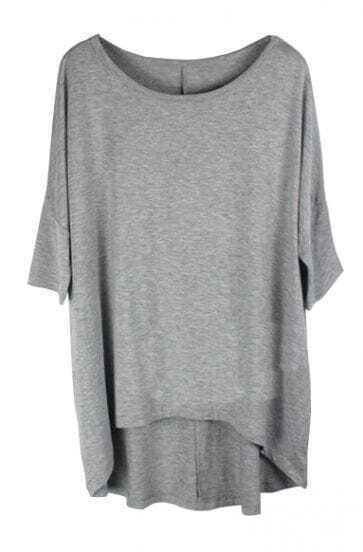 Plain Grey Round Neck Half Sleeve Dipped Hem T-shirt
