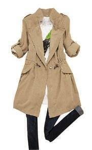 Khaki Lapel Drawstring Waist Pleated Trench Coat
