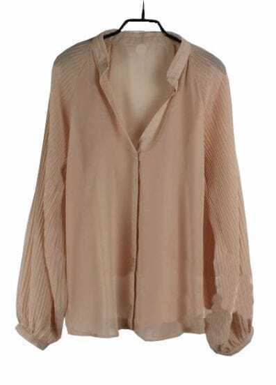 Nude Balloon Sleeve V-neck Chiffon Sheer Shirt