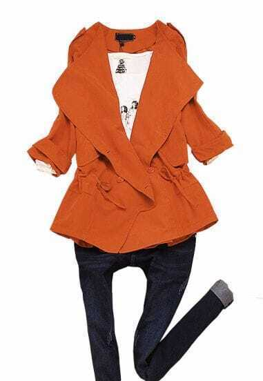 Orange Double Breasted Batwing Trench Coat