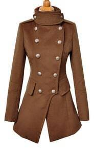 Camel Long Sleeve Buttons Embellished Coat