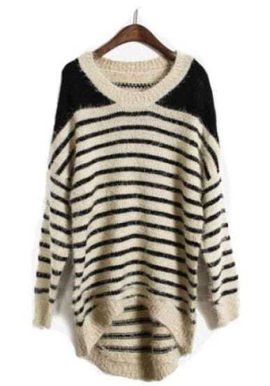 Apricot Batwing Long Sleeve Striped Pullovers Sweater